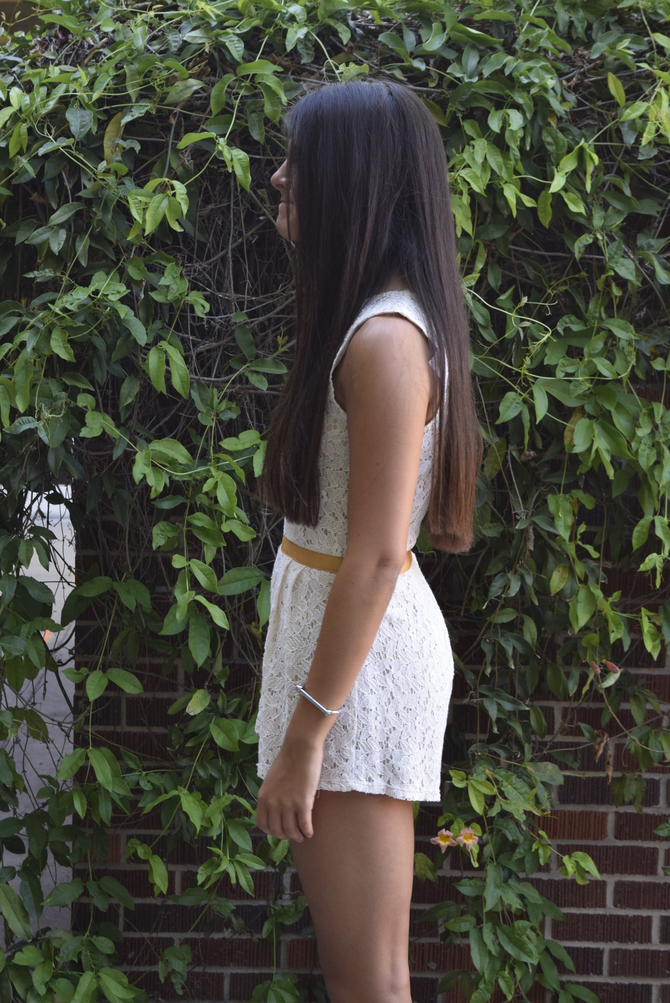 Peppermint Cream Lace Romper