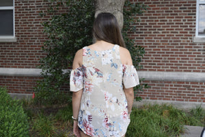 By Together Floral Cold Shoulder Top