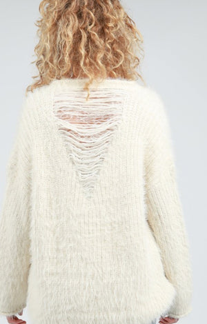 Distressed White Sweater