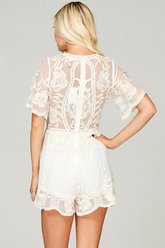 Axis Cream Lace Romper