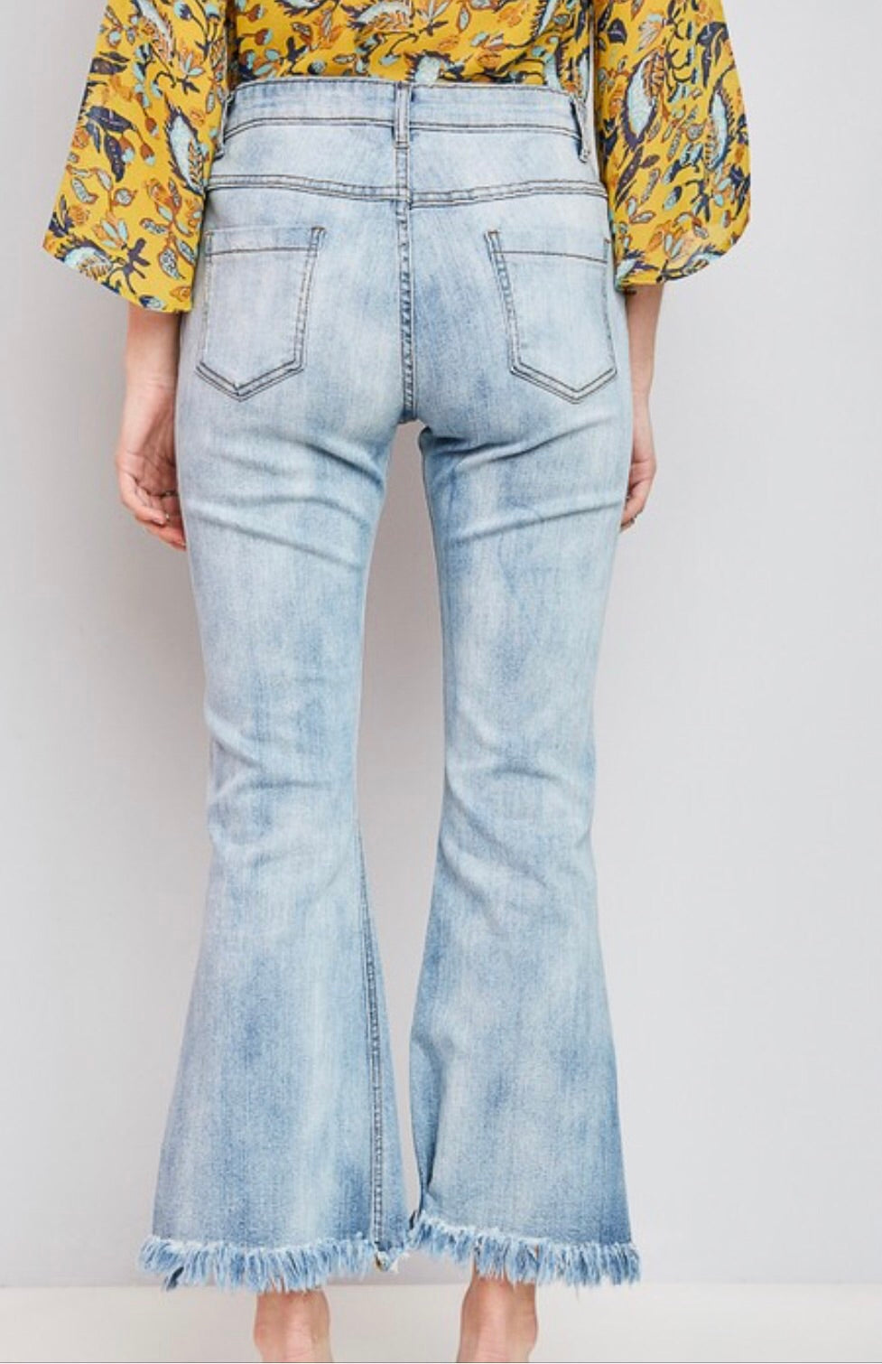 Open Leg Fray Denim