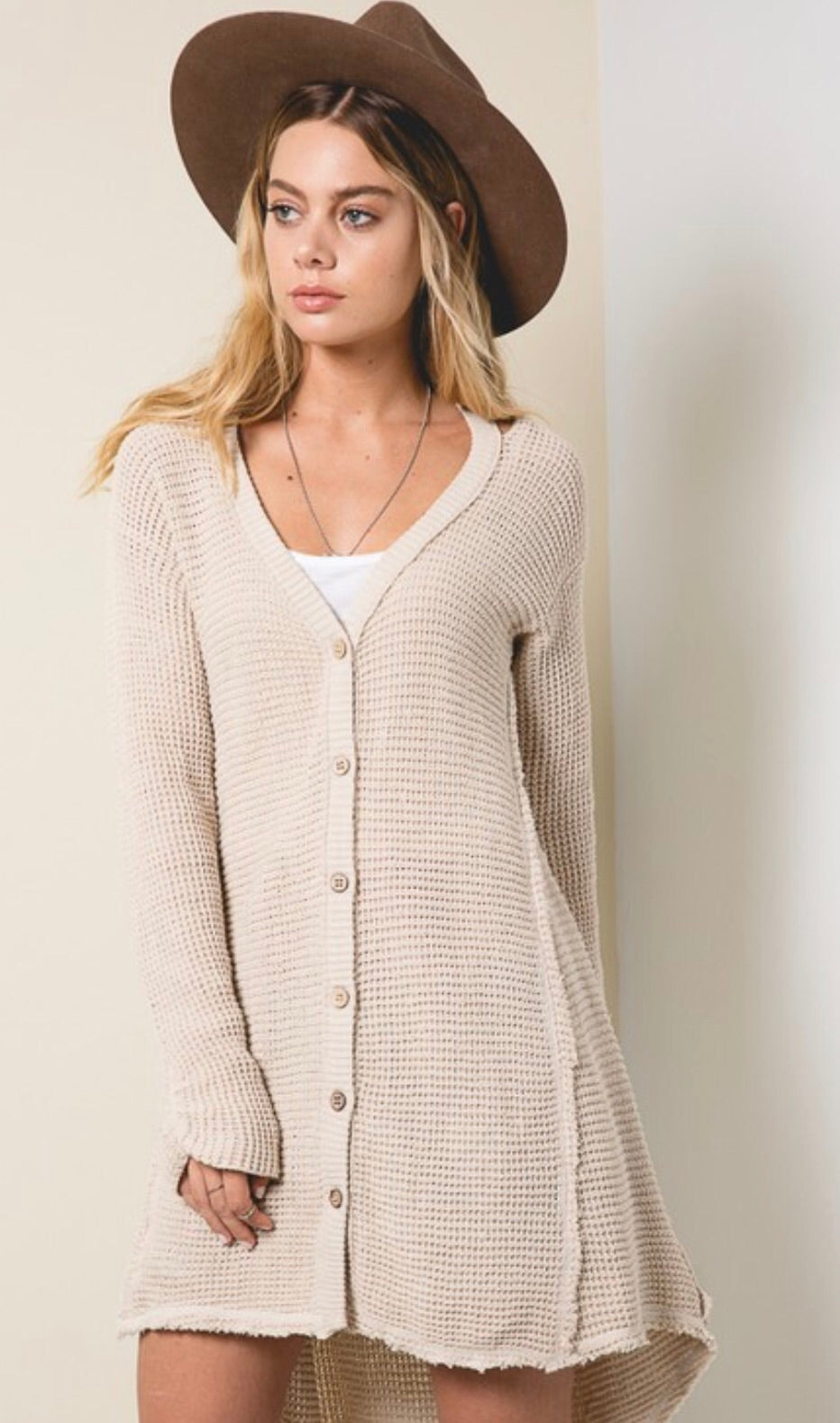 Button Front Waffle Knit