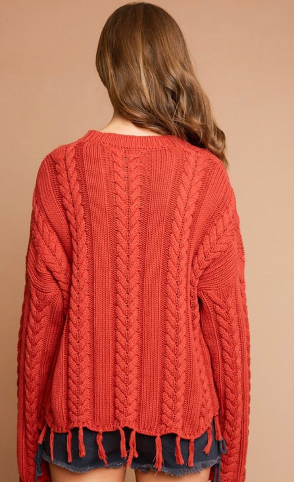 Cable Sweater with Fringe