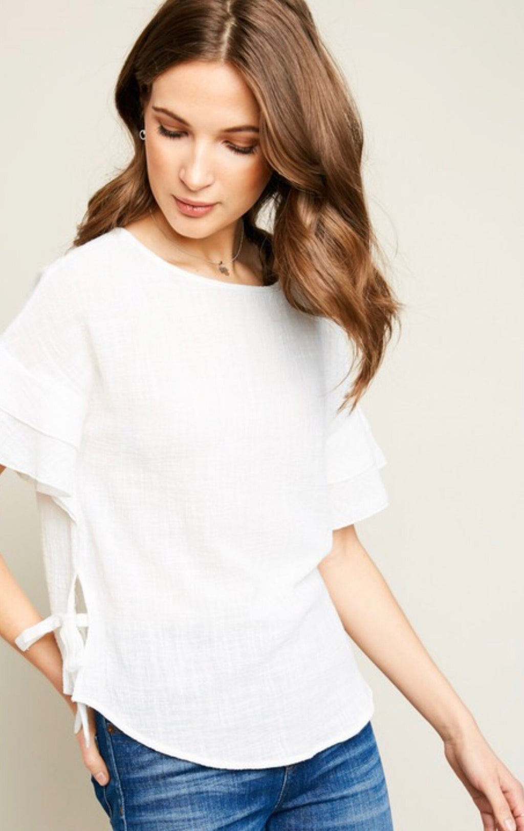 Side Tie White Top