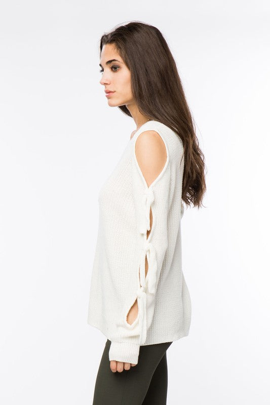 Lumiere White Shoulder Sweater