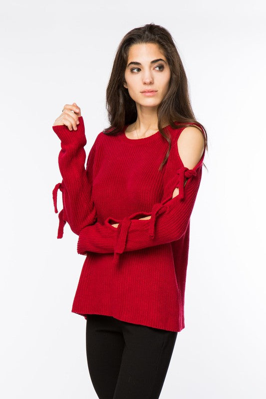 Lumiere Red Shoulder Sweater