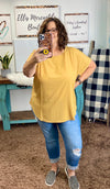 Light Mustard Rolled Sleeve Top - Curvy {ONLINE ONLY}*