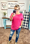 Hot Pink Rolled Sleeve Top {ONLINE ONLY}*