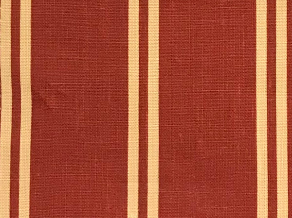 Berlin Red 1 Stripes 100% Linen  (Medium/Heavy Weight | 56 Inch Wide| )
