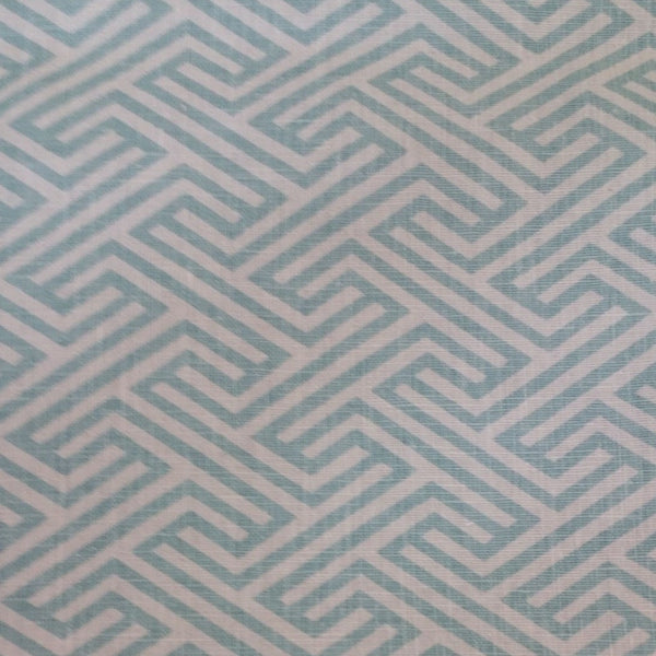 Blue Maze Print-On Belgian White 1 -100% LINEN 7.5 OZ ,56