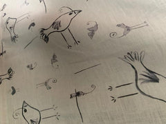 Birds In The Sky Print-Belgian Off White 1-100% LINEN 7.5 OZ ,56