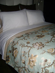 WHITE DUVET COVER WITH ORIENTAL ROSE PRINT AND WHITE THROW PILLOWS