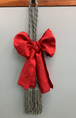 Christmas Red Ribbons with - QUEZON TIE BACKS, Grey Color (1 piece)
