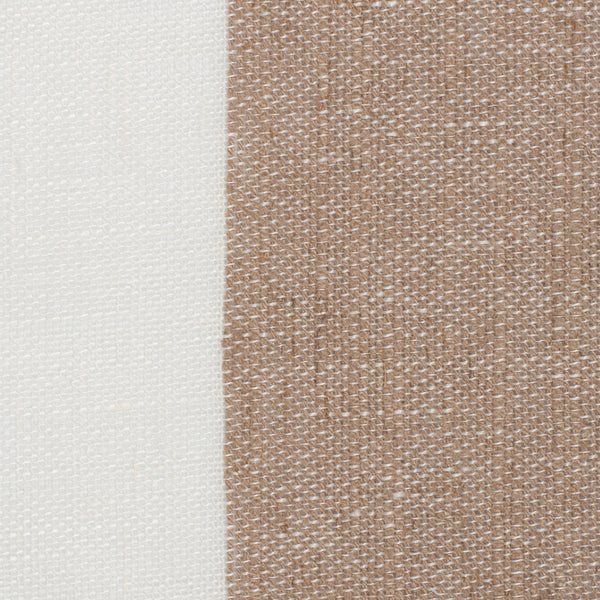 SAMPLE - Spain11 Natural Brown Off White 1 - 100% Linen 5.3 Oz (Light/Medium Weight | 114 Inch Wide | Medium Soft) Wide Width Yarn Dye