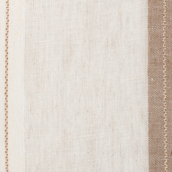 SAMPLE - Spain17 Natural Brown Off White 1 Linen Polyester 5.6 Oz (Light/Medium Weight | 114 Inch Wide | Medium Soft) Wide Width Yarn Dye