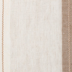 Spain17 Natural Brown Off White 1 Linen Polyester 5.6 Oz (Light/Medium Weight | 114 Inch Wide | Medium Soft) Wide Width Yarn Dye