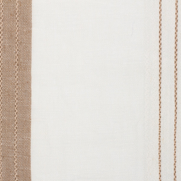 Spain20 Natural Brown Off White 1 Linen Polyester 5.6 Oz (Light/Medium Weight | 114 Inch Wide | Medium Soft) Wide Width Yarn Dye