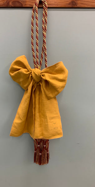 Christmas Yellow Ribbons with - QUEZON TIE BACKS, Red Color (1 piece)