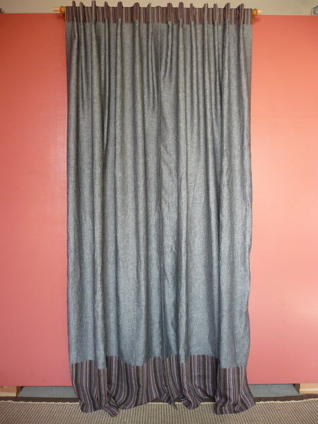CHARCOAL GREY CURTAINS WITH STRIPE BOTTOM