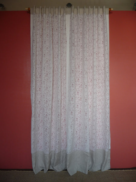 OFF WHITE LINEN CURTAIN WITH BURN OUT LEAVES