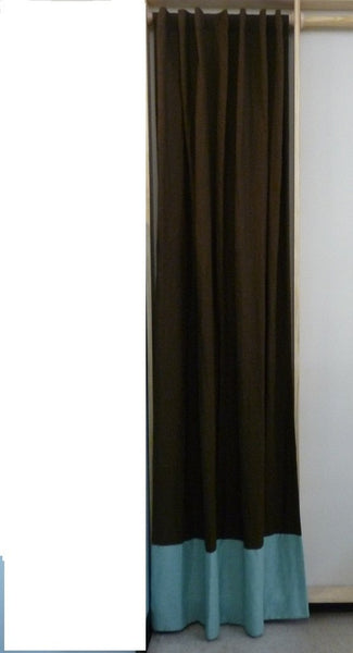 CHOCOLATE BROWN LINEN CURTAIN WITH BLUE BOTTOM
