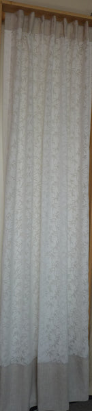 OFF WHITE SHEER CURTAIN WITH BURNOUT BAMBOO