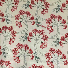 Red Jasmines Print-Belgian Cream 5-100% LINEN 7 OZ ,56