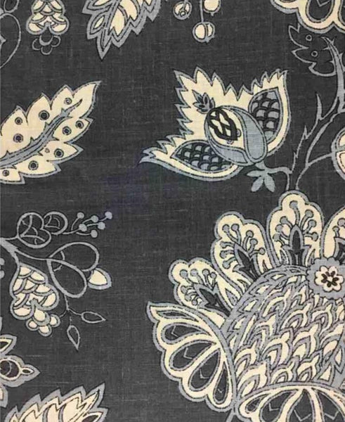China Plum Print-On Belgian Black 1-100% LINEN 7.5 OZ ,56