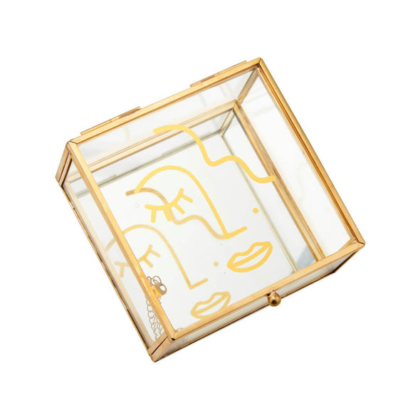 Abstract Face Gold Glass Box