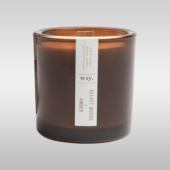 Bamboo and Bergamot Oil Amber Glass Candle