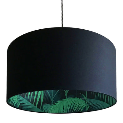 Black Lamp Shade with Inner Lining Palms