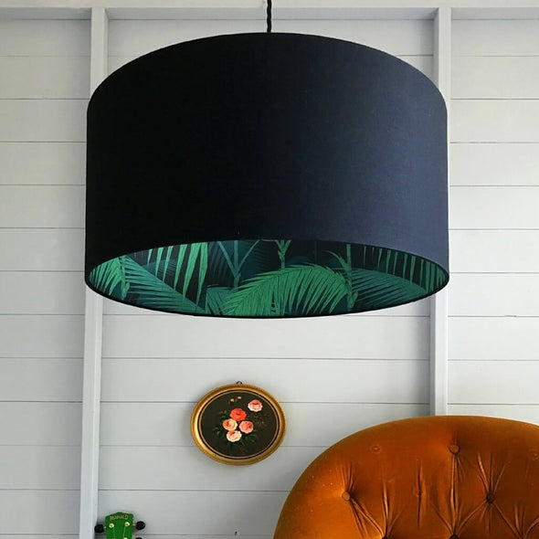 Black Lamp Shade with Palms Lining