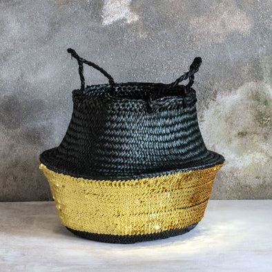 Black and Gold Sequin Basket