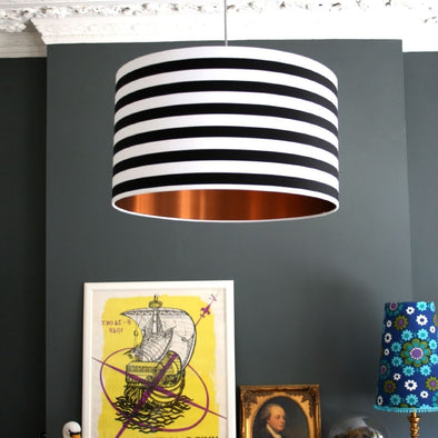 Black and White Striped Lampshade with Brushed Copper Lining