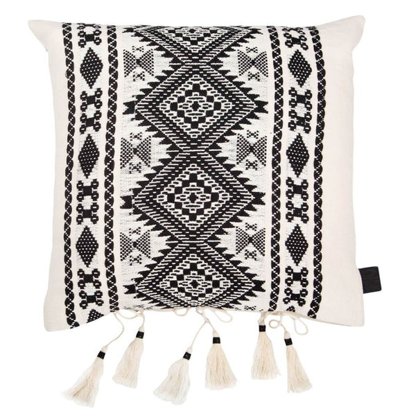 Black & White Bedouin Style Tasselled Cushion