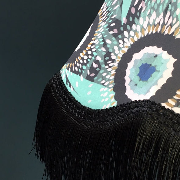 Bloom Lampshade with Black Fringing