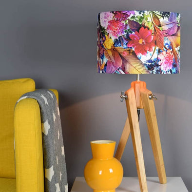 Blooming Flowers Lampshade with Brushed Copper Lining