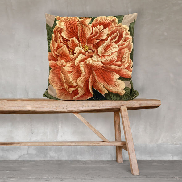 Blooming Peony Flower Velvet Cushion
