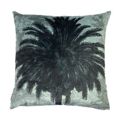 Blue Palms Velvet Cushion