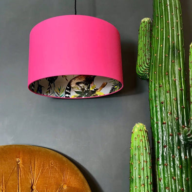 Bubblegum Pink Silhouette Lampshade With Lemur Lining