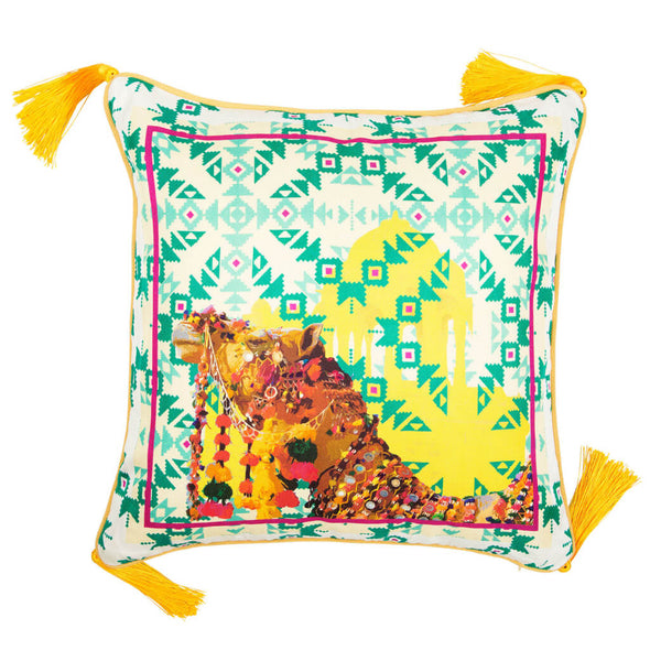 Camel Silk Cushion with Tassels
