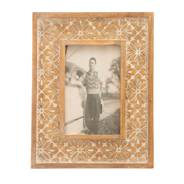 Carved Wooden Floral Photo Frame