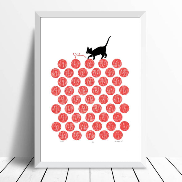 Cat And Wool Wall Art Print