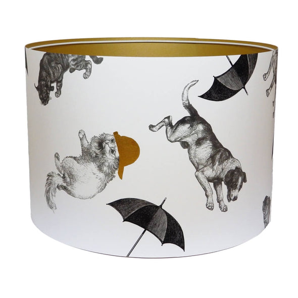 Cats and Dogs Lampshade With Gold Lining