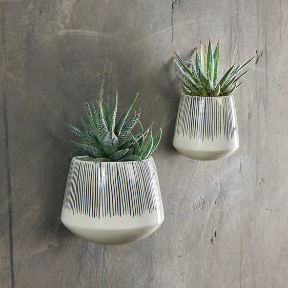 Ceramic Striped Wall Planter