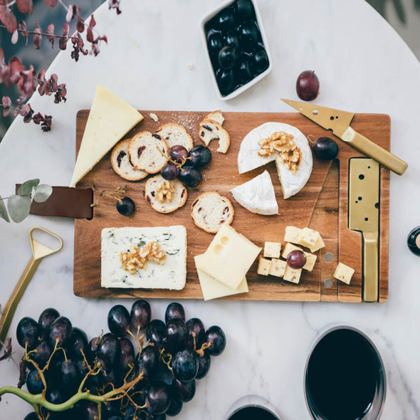 Cheese Board with 2 Gold Knives