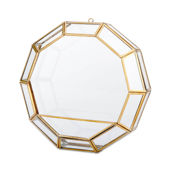 Circular Brass and Glass Wall Planter