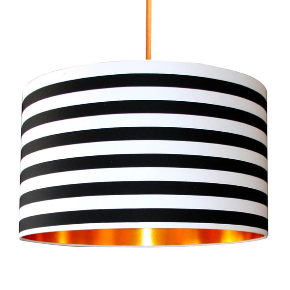 Copper Lined Black and White Striped Lampshade