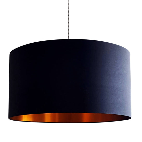 Copper Lining Jet Black Lampshade