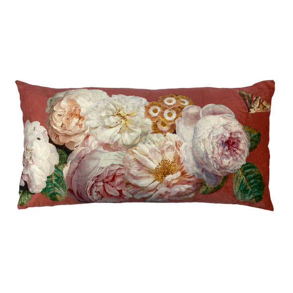Coral Rose Rectangle Velvet Cushion